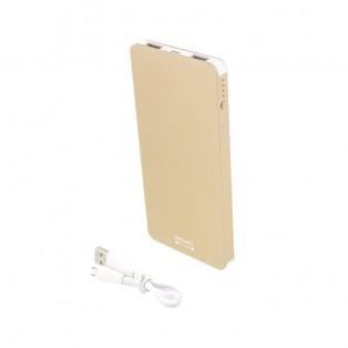 DELTACO Prime Powerbank - Portabelt batteri - 5000mAh, 2 x USB Typ A hona, 5V 2.1A - Aluminium - Guld