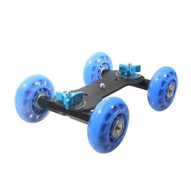 Dolly / slider / stativ på hjul med GoPro-fäste