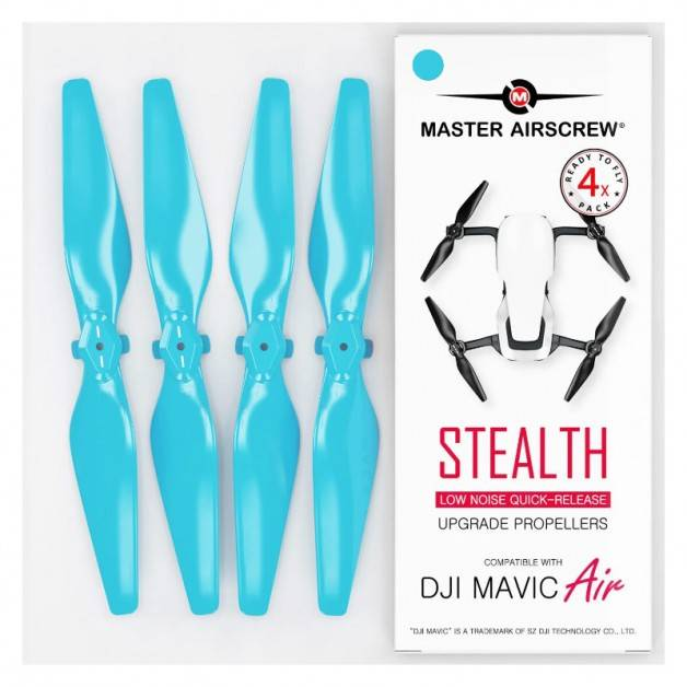 Master Airscrew - DJI Mavic Air Stealth Upgrade Propellers V2 - Propeller till DJI Mavic Air - Blå - Kit 4-Pack