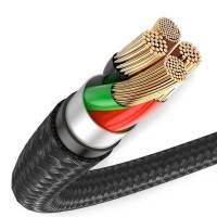Baseus Halo Data USB-A - Micro USB-Kabel, QC 3.0, 3A, 0.25m LED - Svart