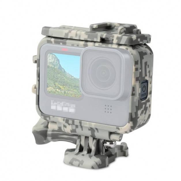 Skyddsram med tillbehörshållare Cold Shoe till GoPro Hero9 Black - Kamouflage - Sand