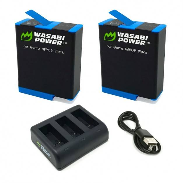 Wasabi Power Batterier och Batteriladdare - Trippel - för GoPro Hero9 Black - Paket