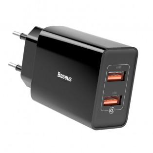 Baseus Quick Charger - Väggladdare - Snabbladdare QC3.0+ / PD 18W - 100-240V till USB - 2xUSB Typ A - Svart