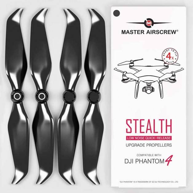 Master Airscrew - DJI Phantom 4 Stealth Upgrade Propellers - Propeller till DJI Phantom 4 - Svart - Kit 4-Pack