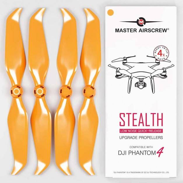 Master Airscrew - DJI Phantom 4 Stealth Upgrade Propellers - Propeller till DJI Phantom 4 - Orange - Kit 4-Pack