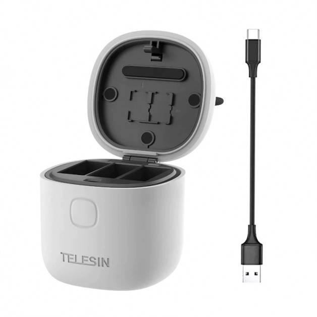 Telesin Batteriladdare allInBox med förvaring för batterier + microSD Läsare - Trippel - för GoPro Hero9 Black