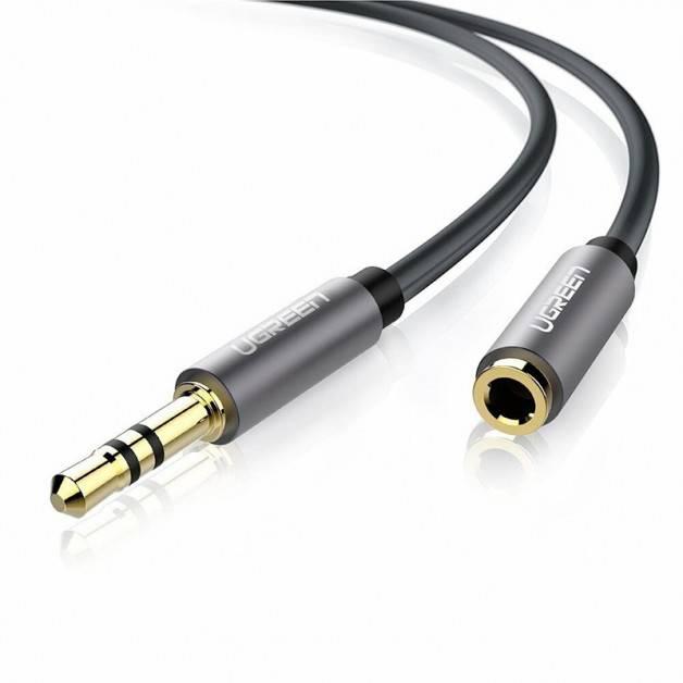 Ugreen AV118 Kabel Förlängning Ljud AUX 3.5mm Ha-Ho - 2m - Svart