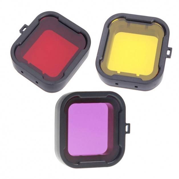 Färgfilter för dyking Gul + Röd + Lila - Paket