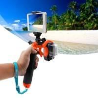 Flytande handstativ med avtryckare 3 i 1 till GoPro inkl. mobilhållare - Orange